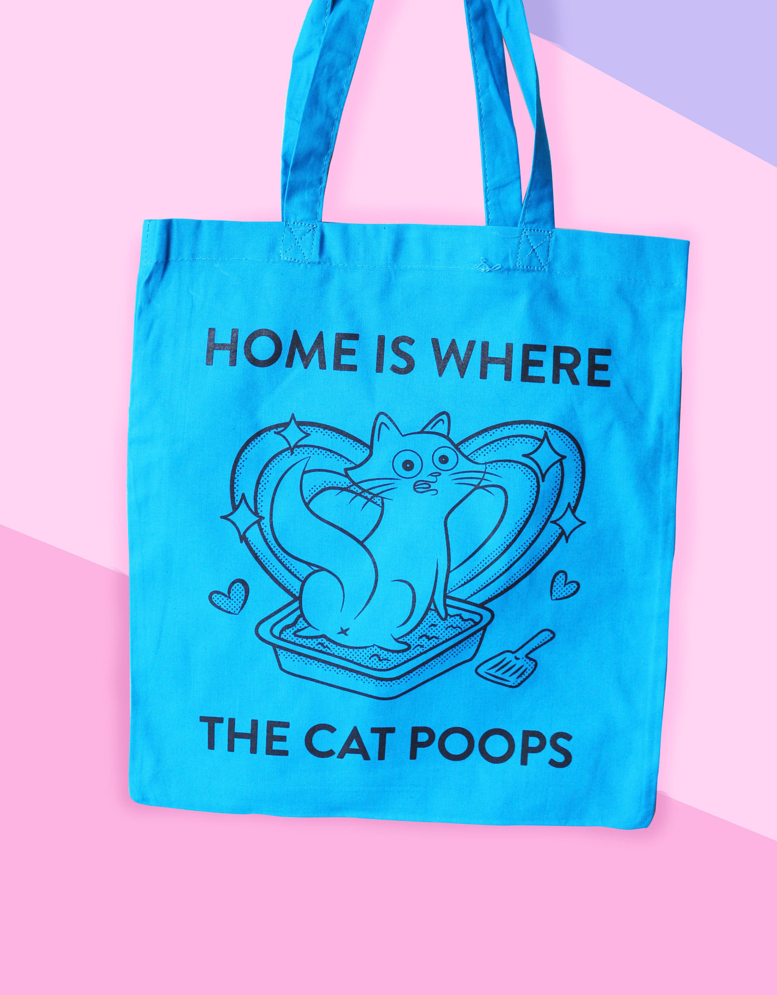 We Are Extinct We are extinct Home is where the cat poops - tote bag blauw