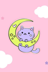 We Are Extinct We are extinct Moon and stars cat - Enamel pin