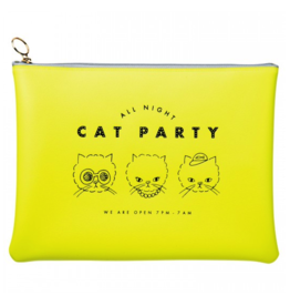 Mark's Tokyo Edge Mark's - All Night etui groot, Cat - geel flat pouch