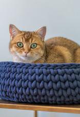 Sunny Baskets Sunny Baskets Handgehaakte Kattenmand - Donkerblauw L