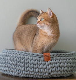 Sunny Baskets Sunny Baskets - Handgehaakte kattenmand - Grijsgroen L