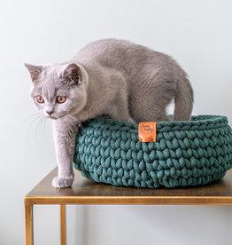 Sunny Baskets Sunny Baskets Handgehaakte Kattenmand - Donkergroen L