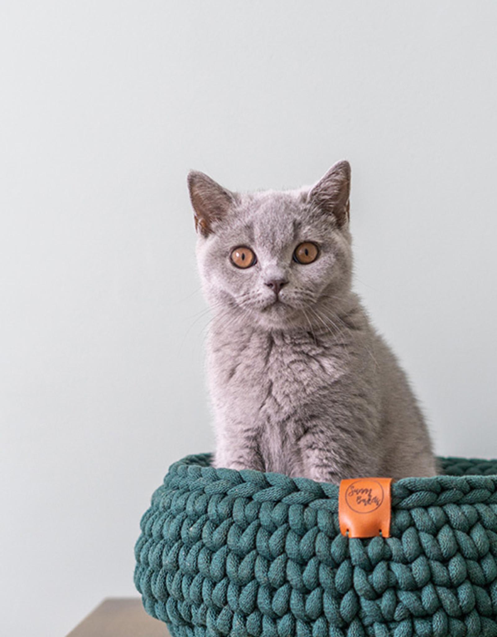 Sunny Baskets Sunny Baskets - handgehaakte kattenmand - Donkergroen L