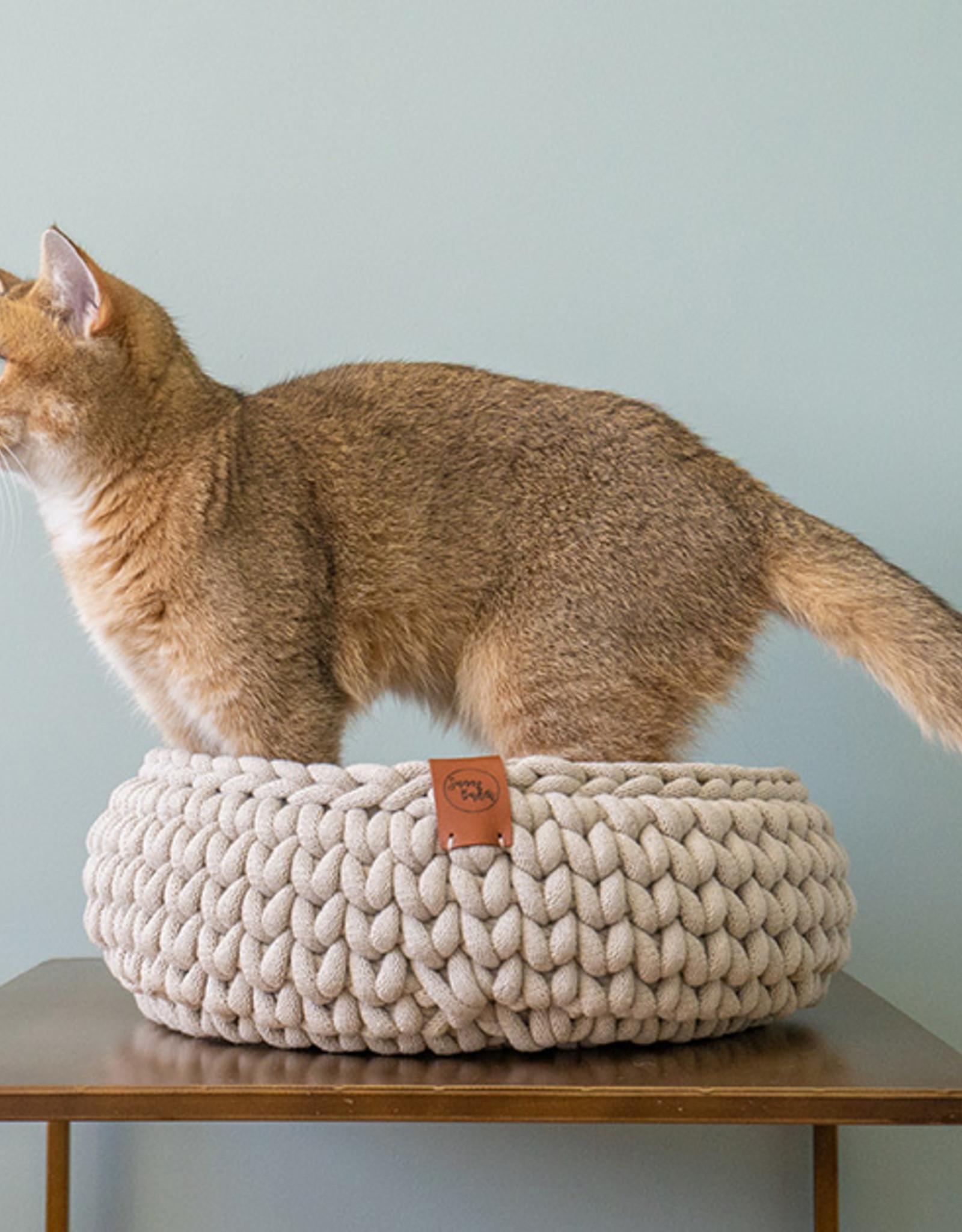 Sunny Baskets - Handgehaakte kattenmand - Beige L