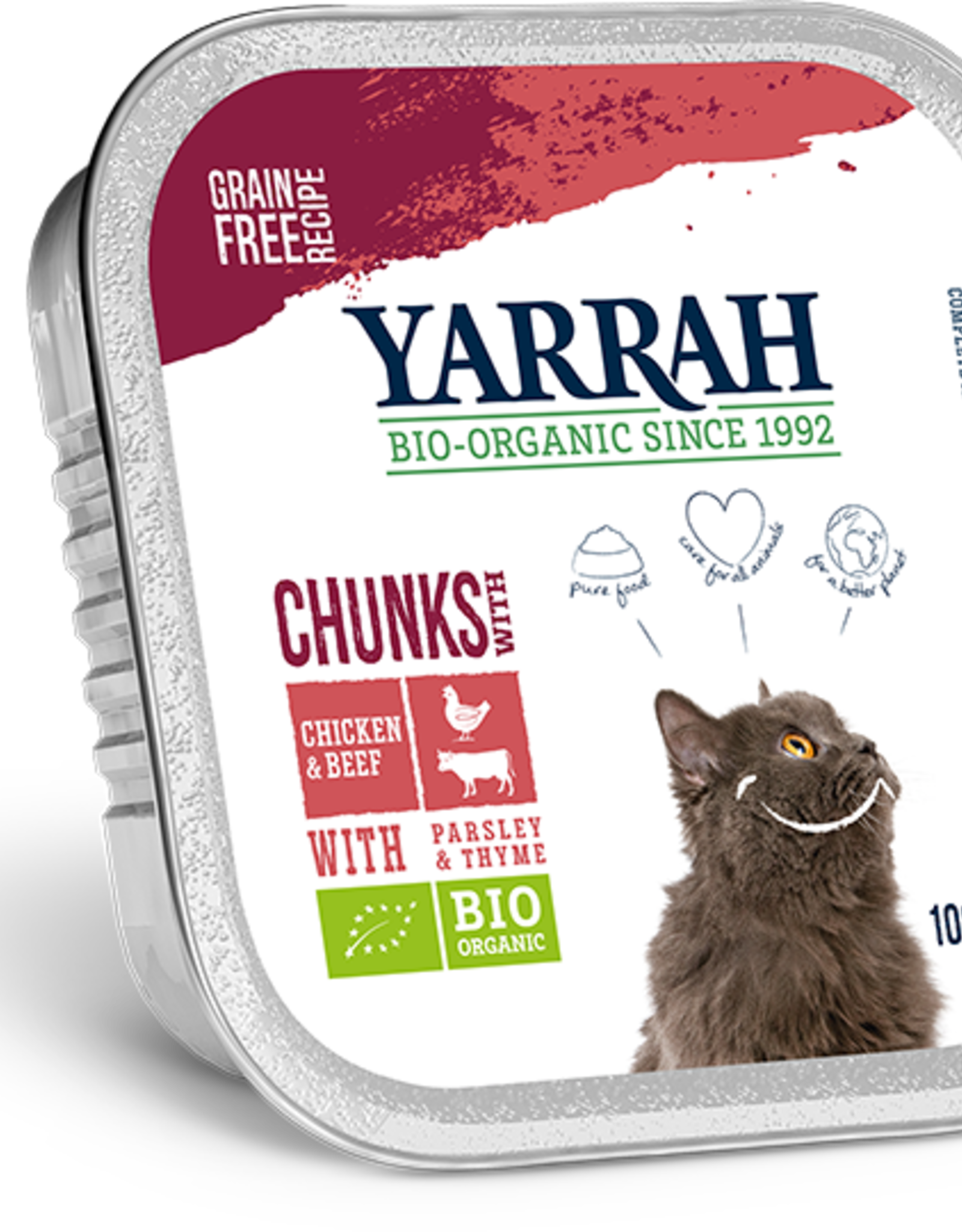 Yarrah - Kattenvoer chunks kip en rund 100g