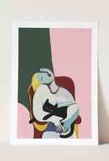 Niaski Niaski - Lady and her cat print
