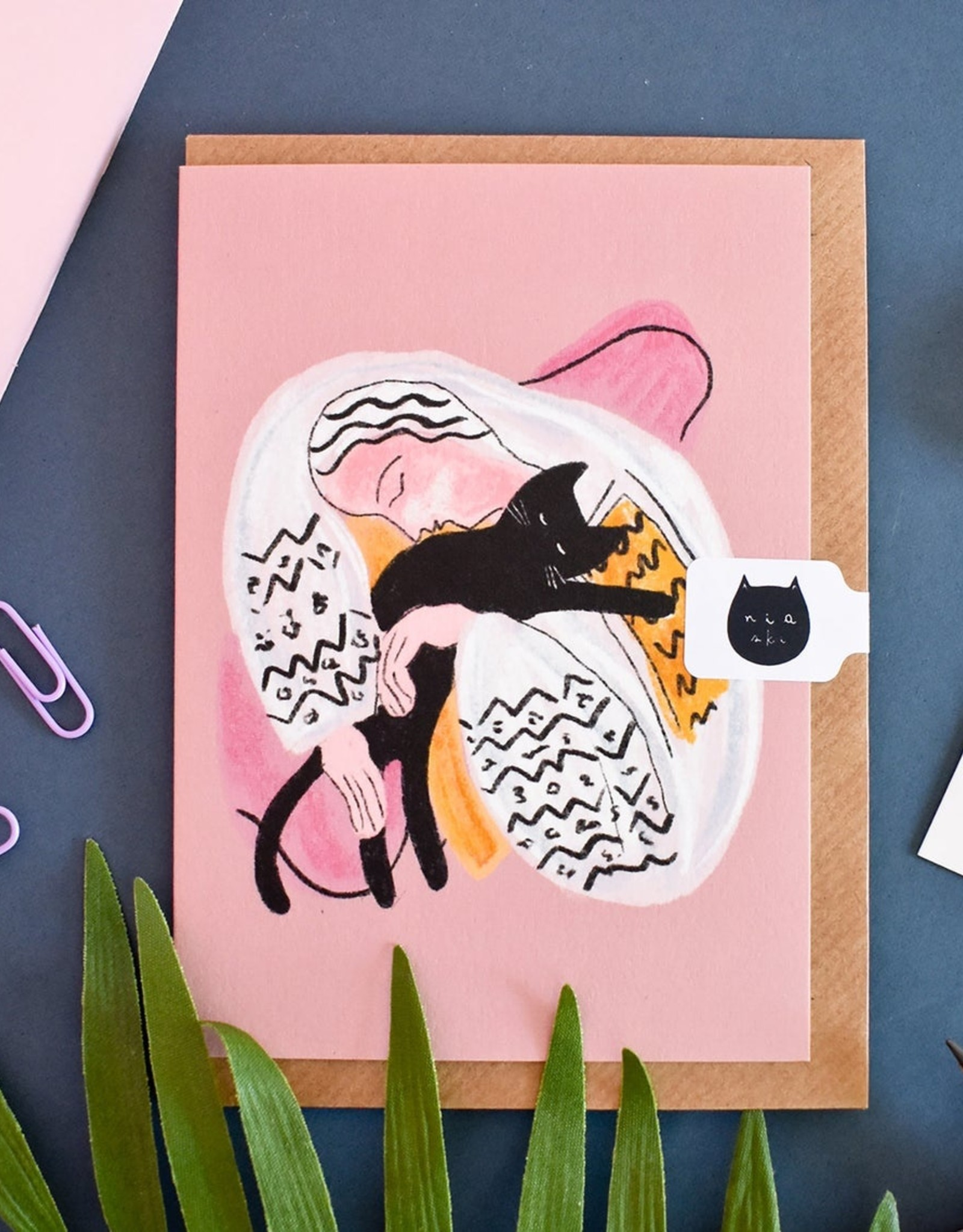 Niaski Niaski - cat hug (love cat matisse) kaart
