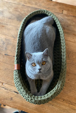 Sunny Baskets Sunny Baskets - ovale hand gehaakte kattenmand avocado groen