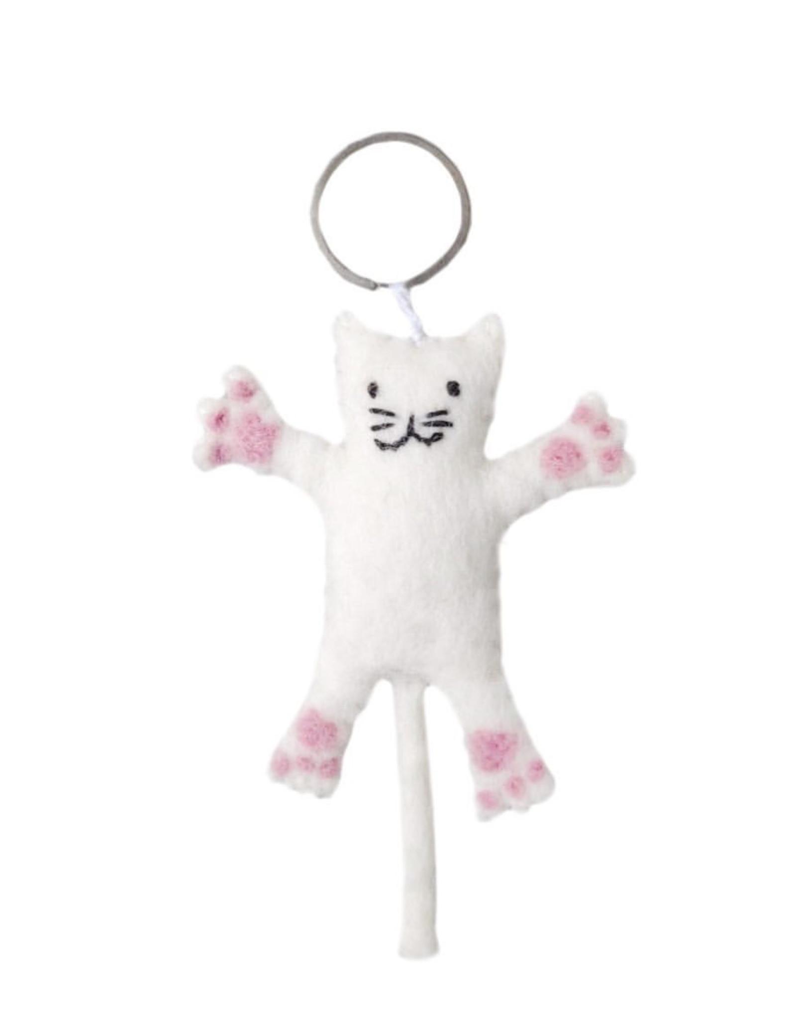 BeYoona BeYoona- sleutelhanger witte kat snow