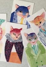 Magín Design Magín Design - set of 5 postcards fashion cats