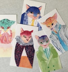 Magín Design Magín Design - set of 5 postcards fashion cats