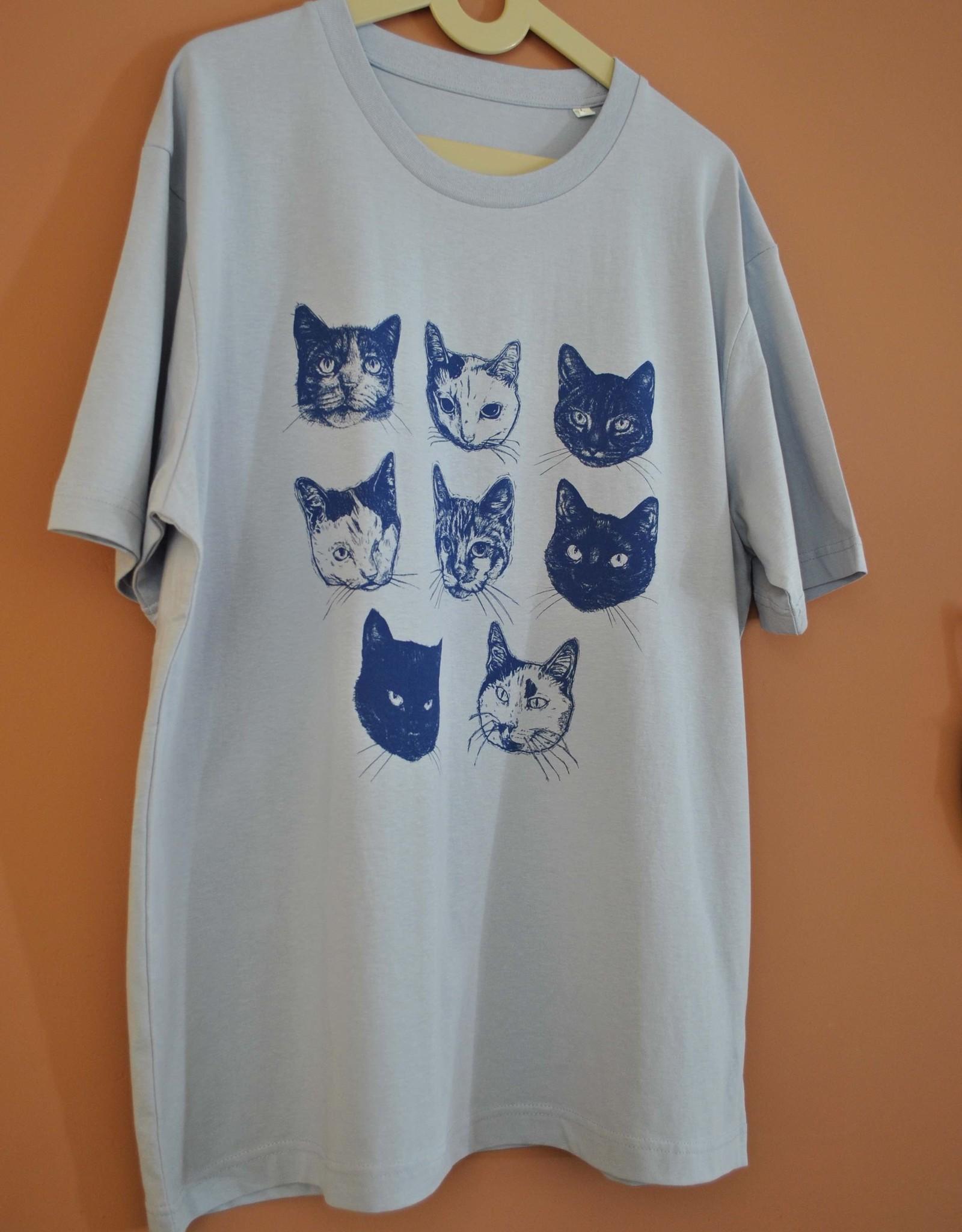 Kopjes Kopjes portretjes - T-shirt - Boxy- Blue- XL
