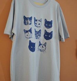 Kopjes Kopjes portretjes - T-shirt - Boxy- Blue- S
