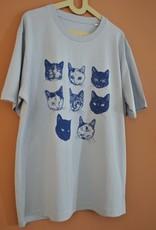 Kopjes Kopjes portretjes - T-shirt - Boxy- Blue- XS