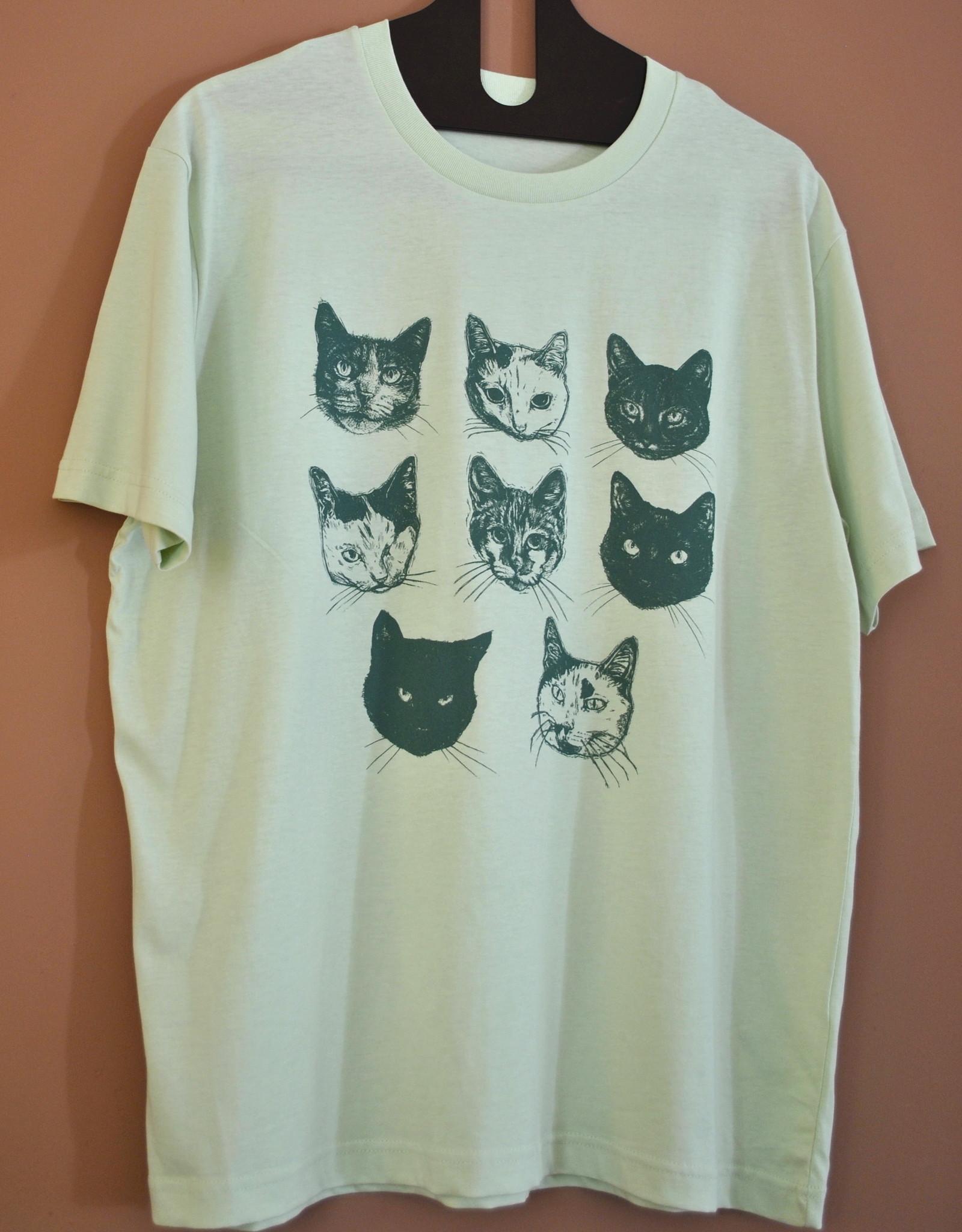 Kopjes Kopjes portretjes - T-shirt - Boxy- Green- L