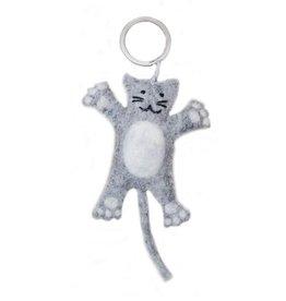 BeYoona BeYoona - Vilten sleutelhanger lichtgrijze kat