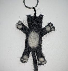 BeYoona BeYoona - Vilten sleutelhanger grijze kat