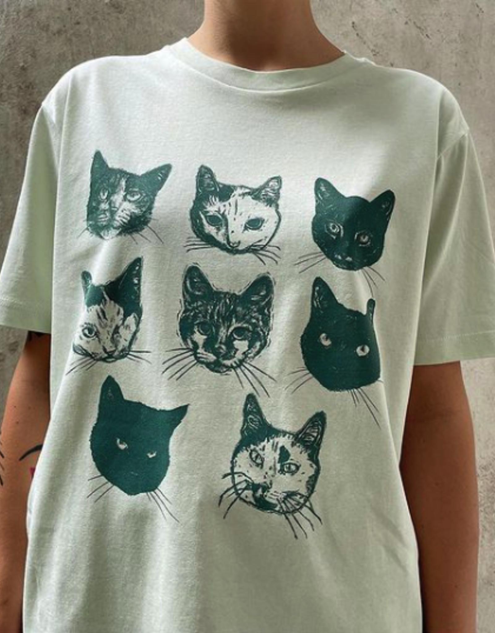 Kopjes Kopjes portretjes - T-shirt - Boxy- Green- XXS