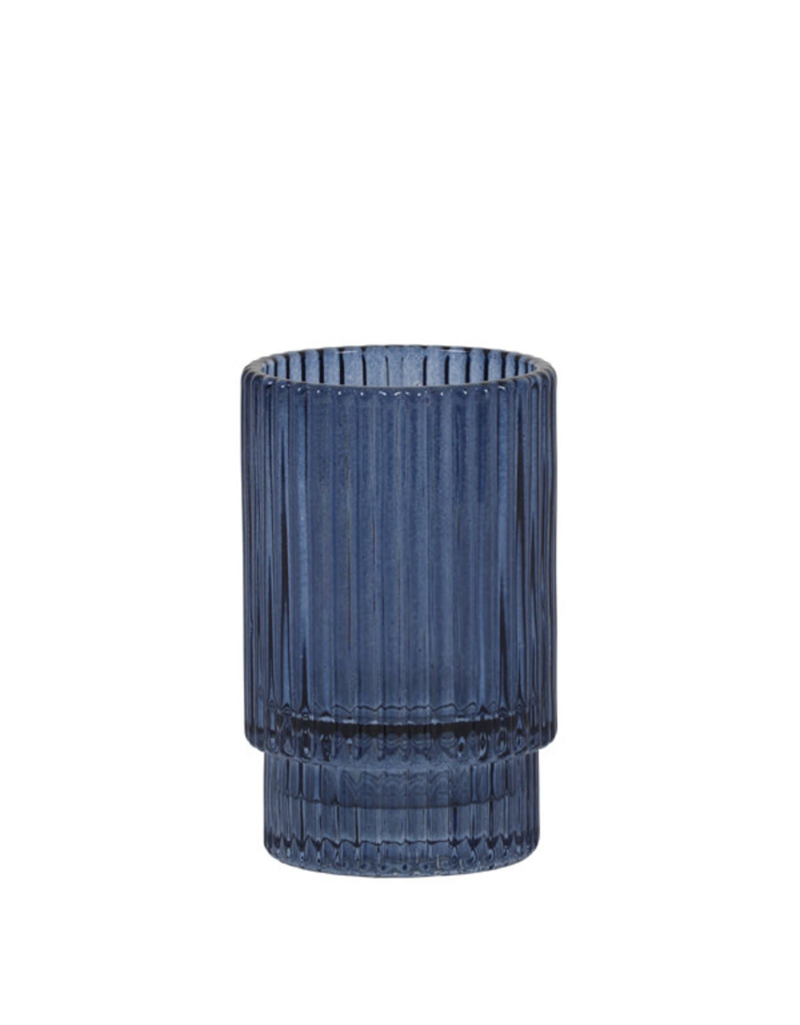 Theelichthouder rib glas - blauw