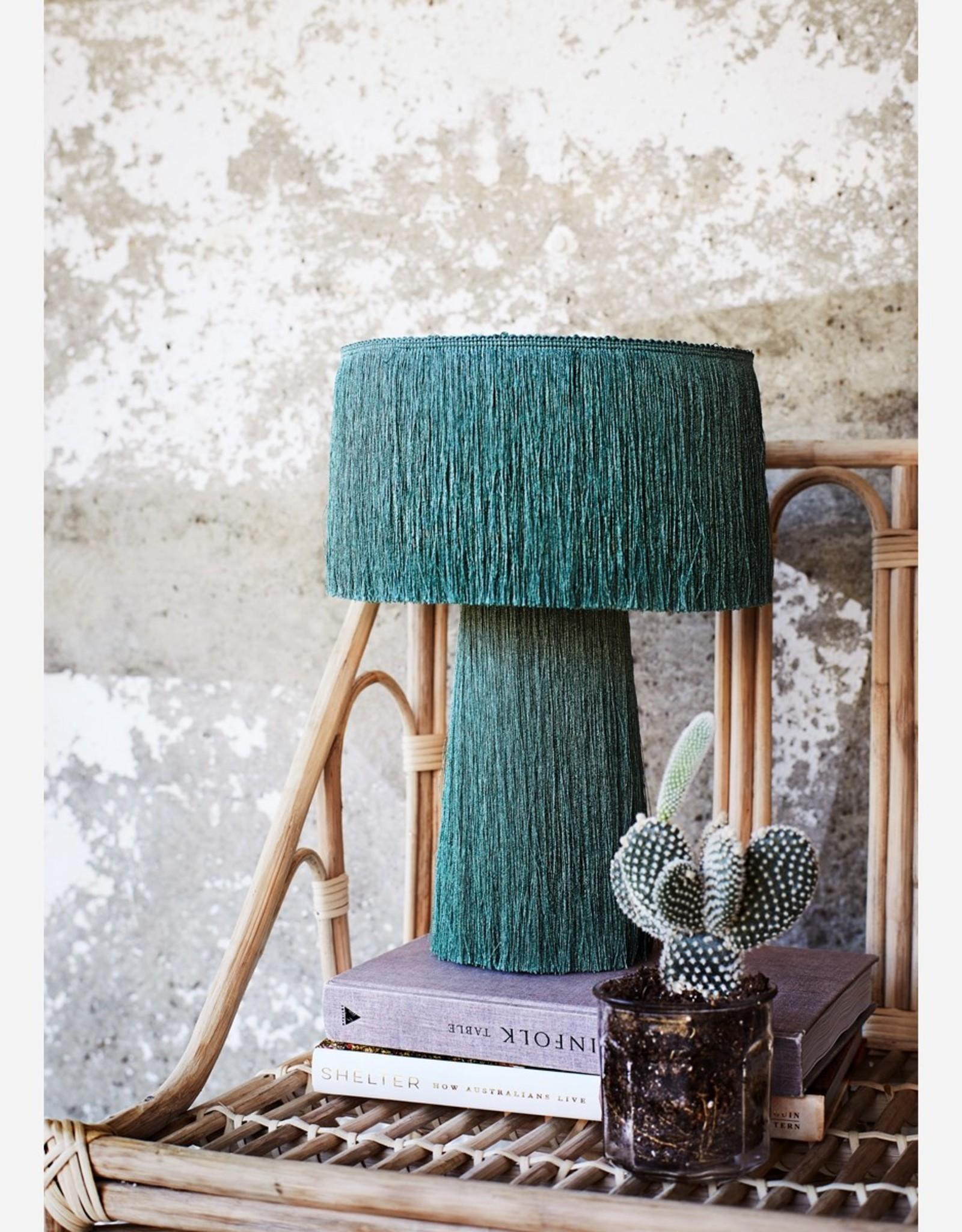 Tafellamp met franjes - groen