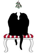 Black Cat Mistletoe 25x25cm