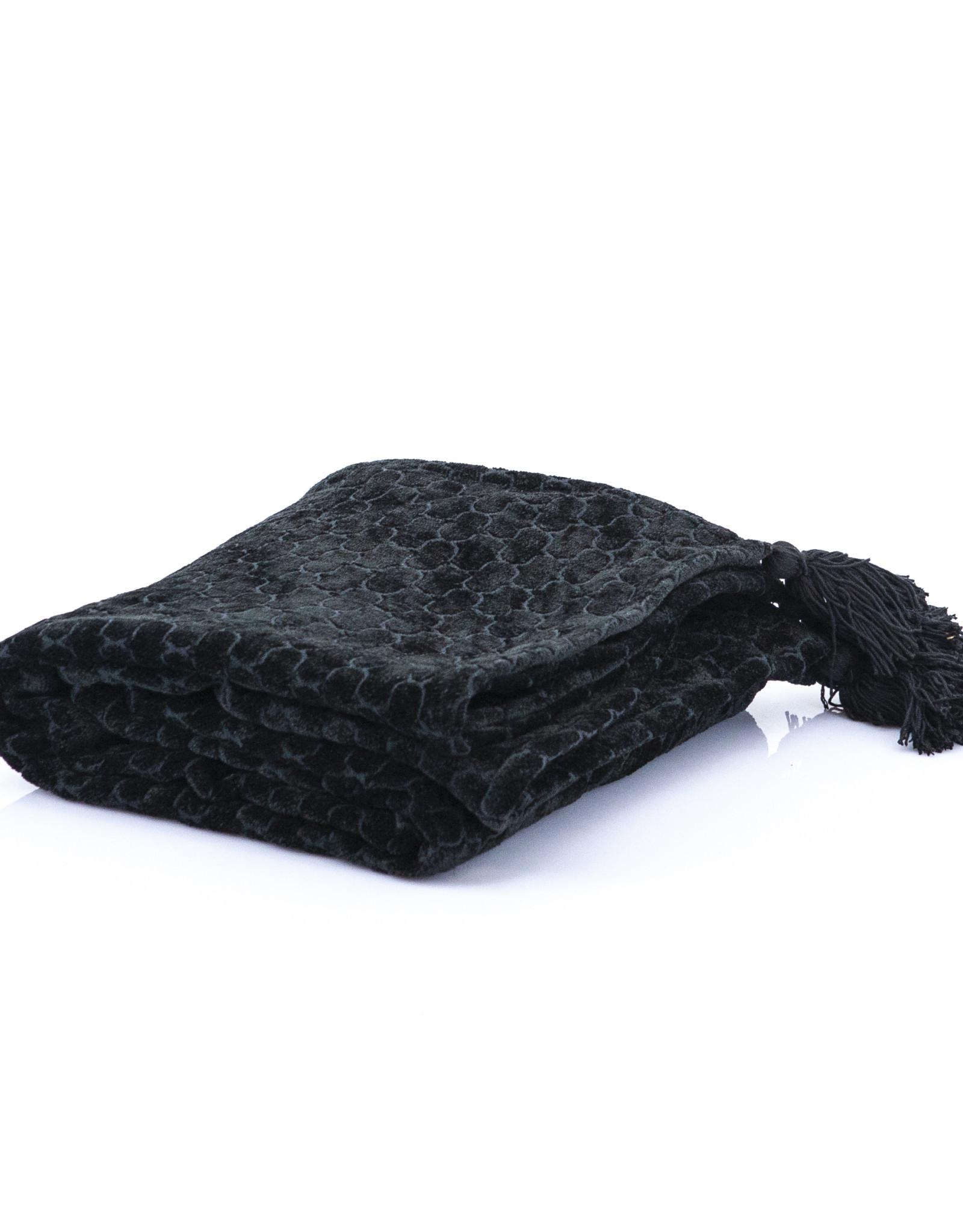 Plaid Viscose/Katoen - zwart