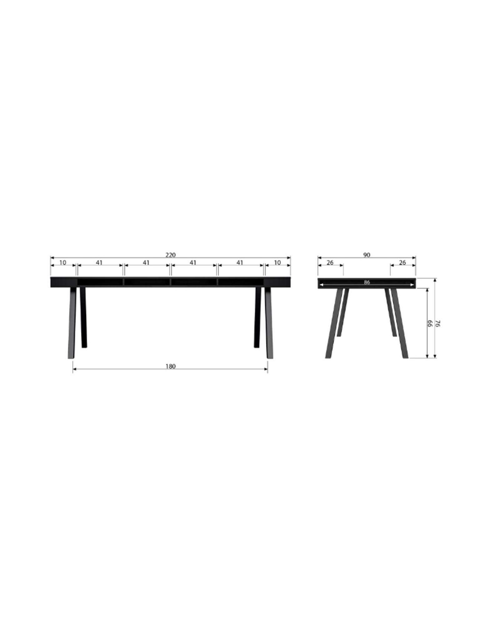Eettafel L220 cm met opbergvakken -  Zwart Essenhout