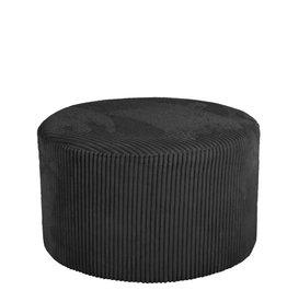 Poef Corduroy - zwart Ø50 cm
