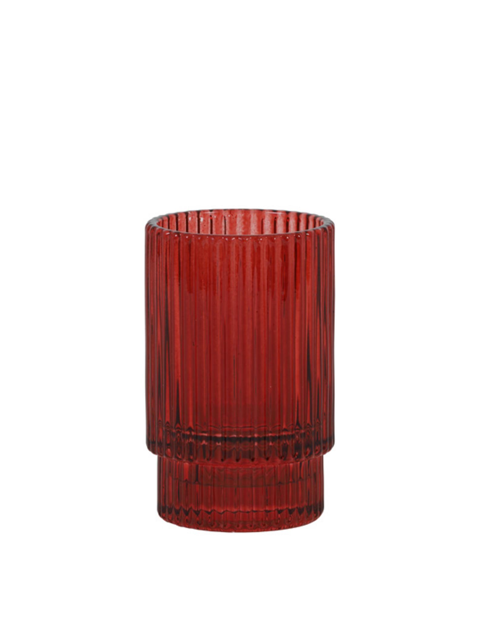 Theelichthouder rib glas - rood