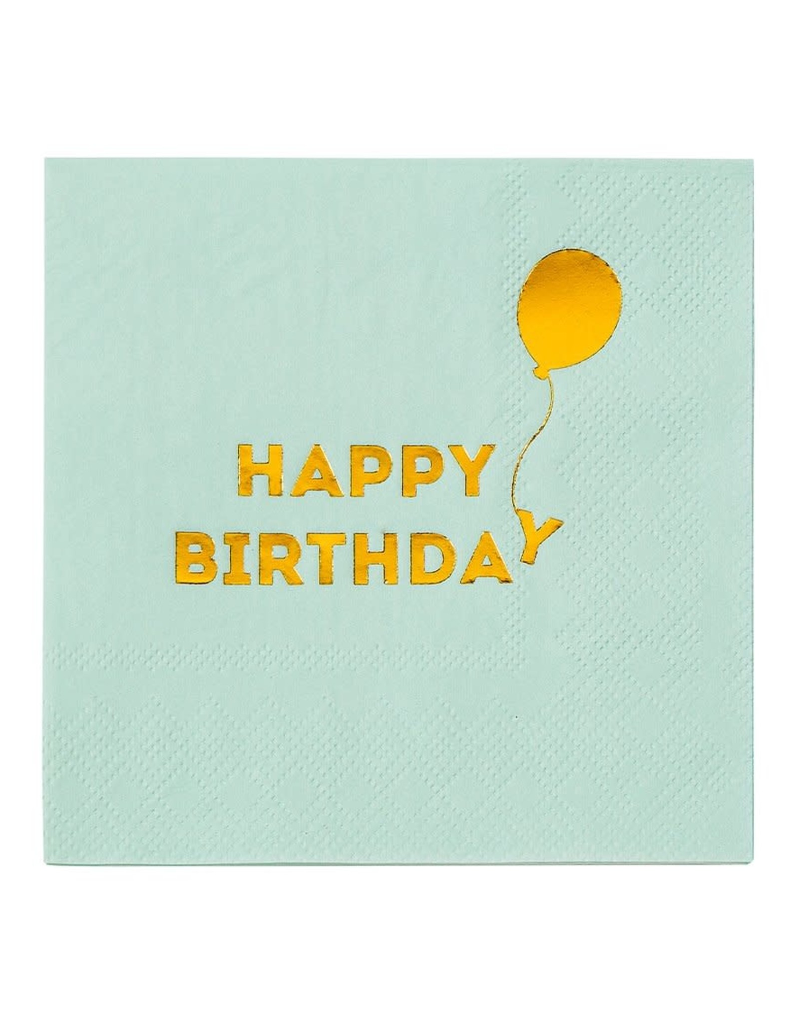 Servetten 25 x 25 cm - Happy Birthday Mint Gold
