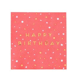 Servetten 25 x 25 cm - Happy Birthday Gold Pink