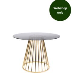 Eettafel rond - Smoke Glass & Gold