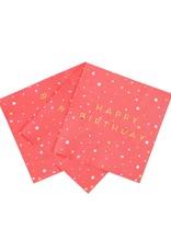 Servetten 25 x 25 cm - Happy Birthday Gold Pink