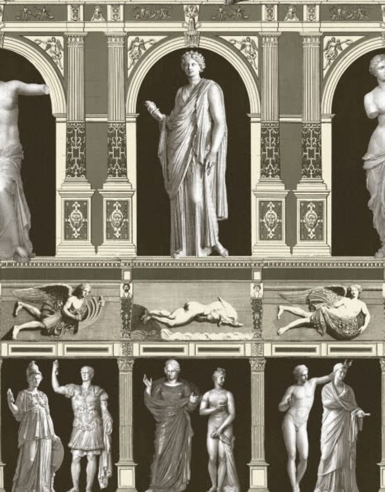 Behang Antiques Statues Taupe - 156 x 300 cm