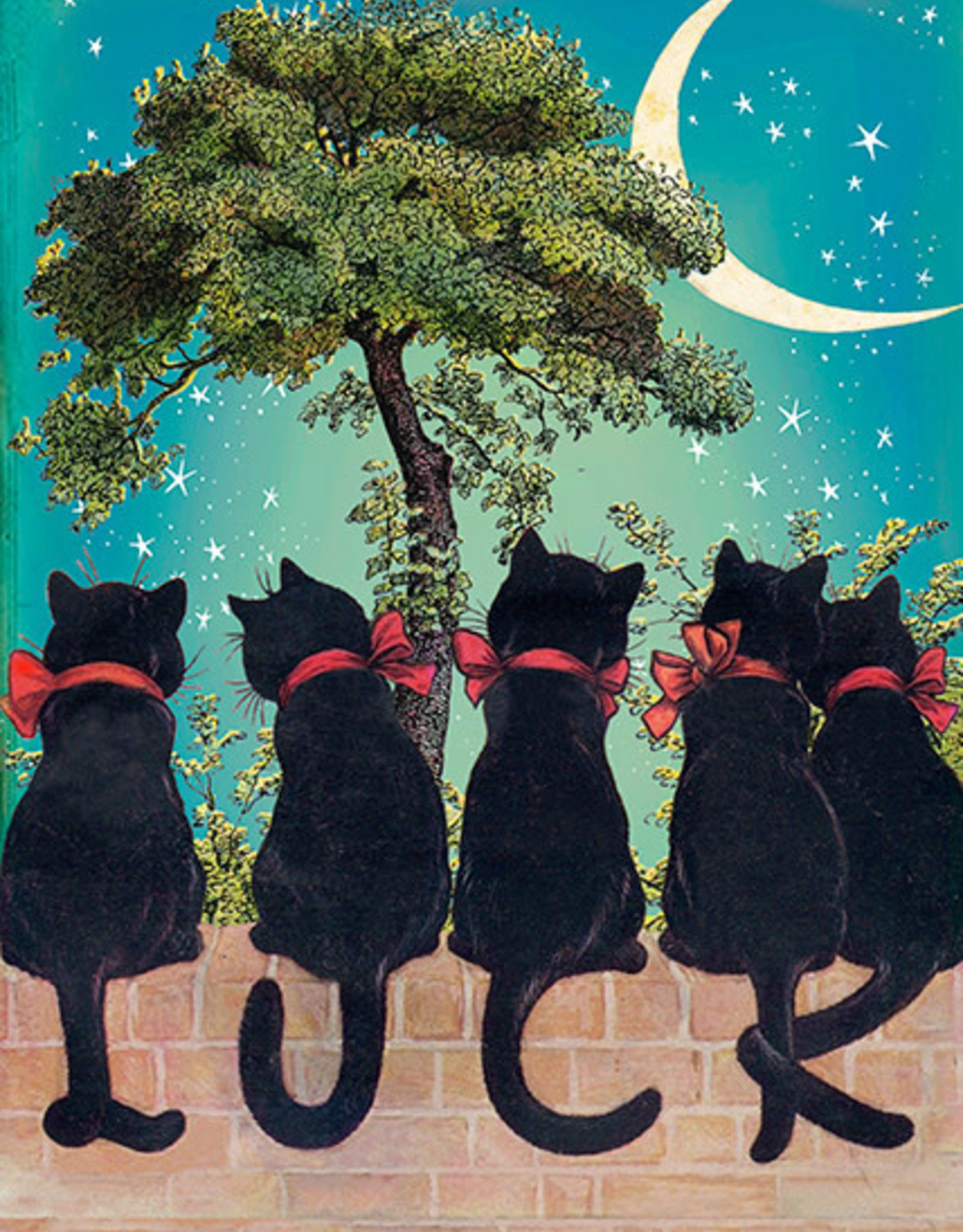 Madame Treacle Kaart groot 'Lucky cats under the moon'