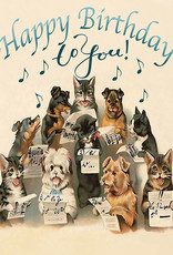 Madame Treacle Kaart 'Happy Birthday' - Singing dogs & cats