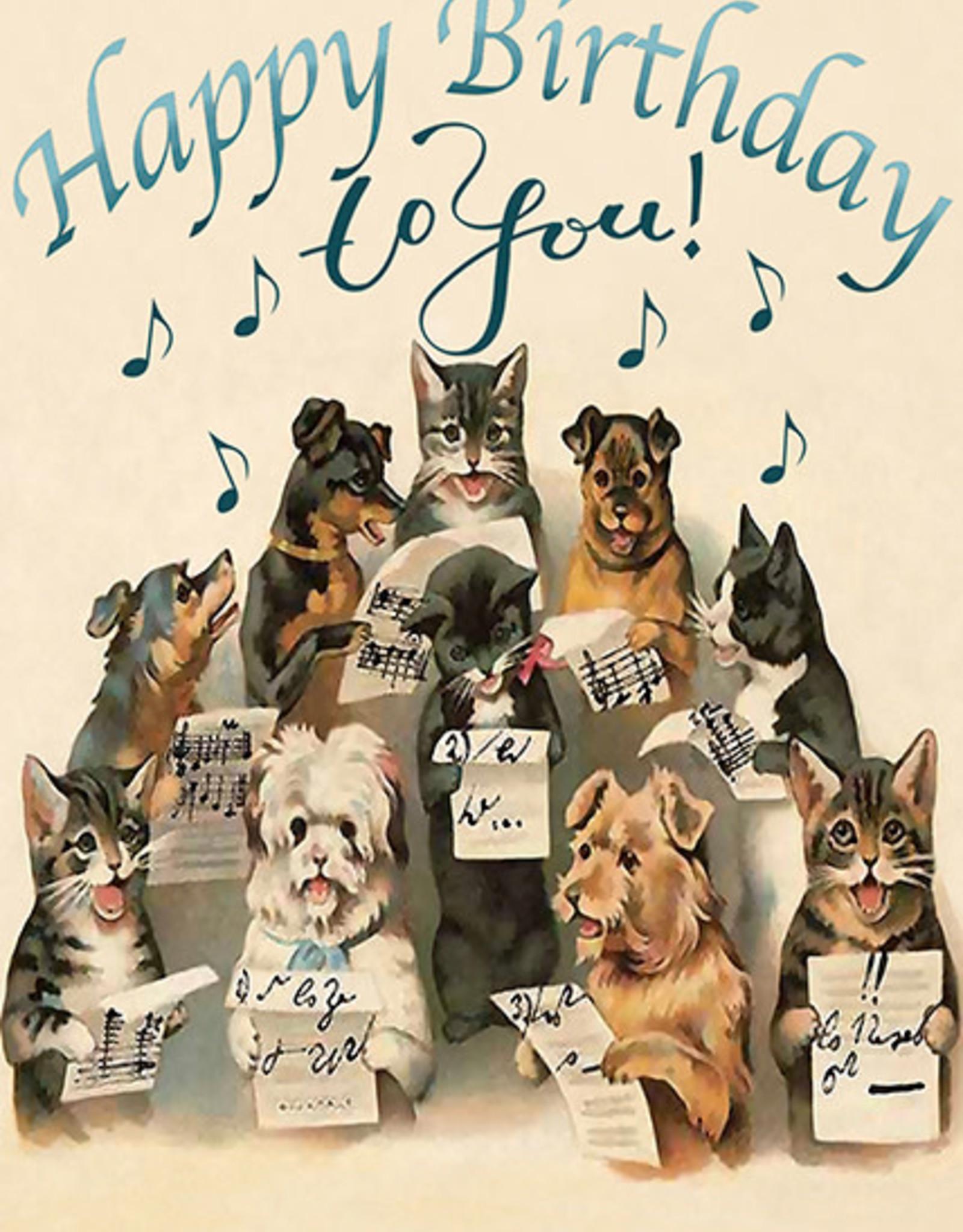 Madame Treacle Kaart groot 'Happy Birthday' - Singing dogs & cats