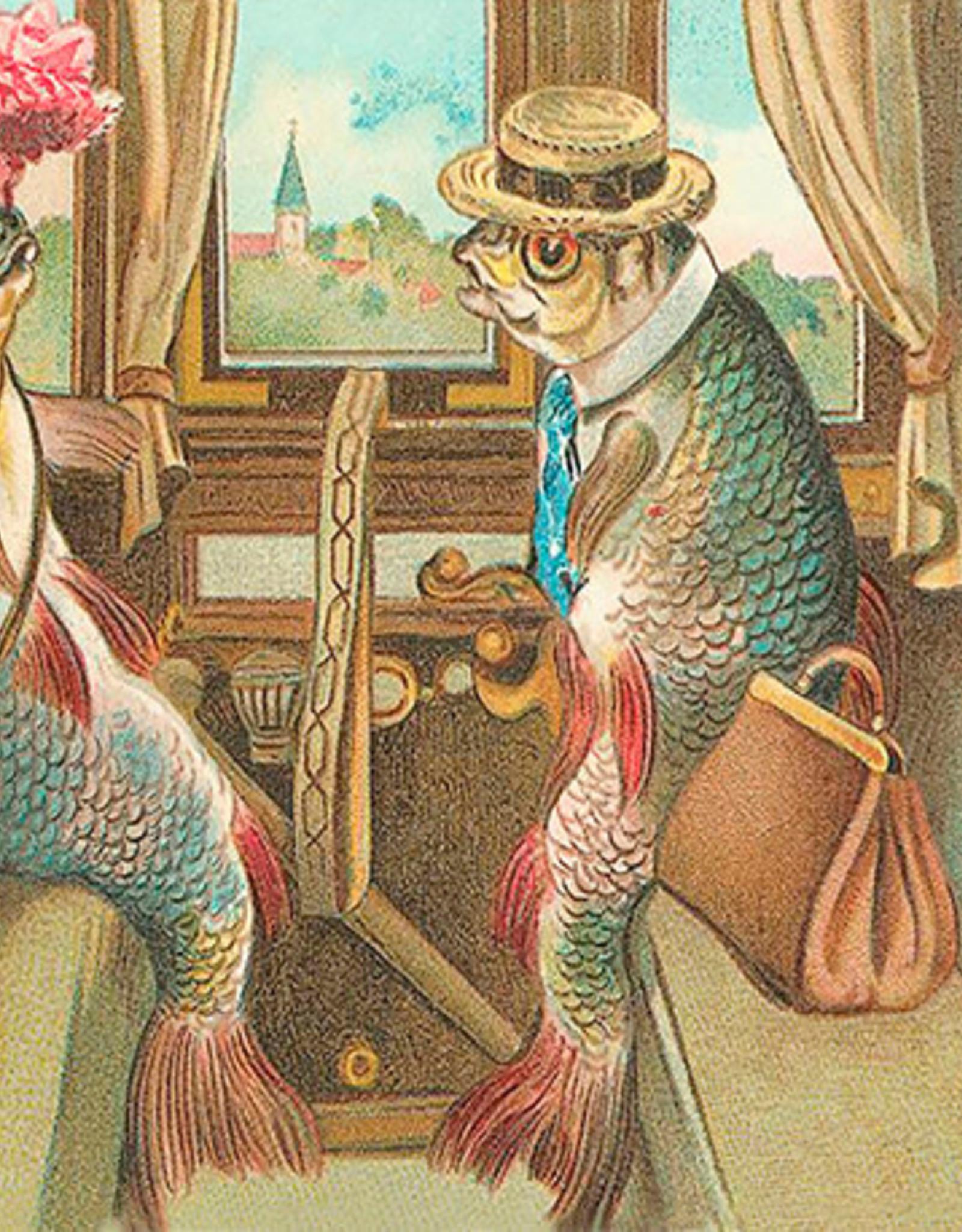 Madame Treacle Kaart vintage petite 'Fish in train'