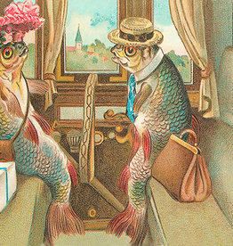 Madame Treacle Kaart vintage petite 'Fish in train'