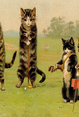 Madame Treacle Kaart vintage petite 'Cats playing golf'