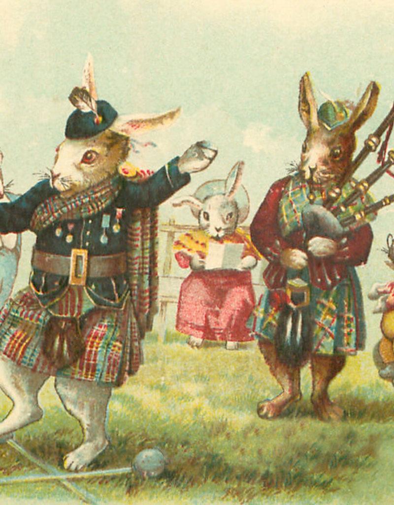 Madame Treacle Kaart vintage petite 'Bagpipes rabbits'