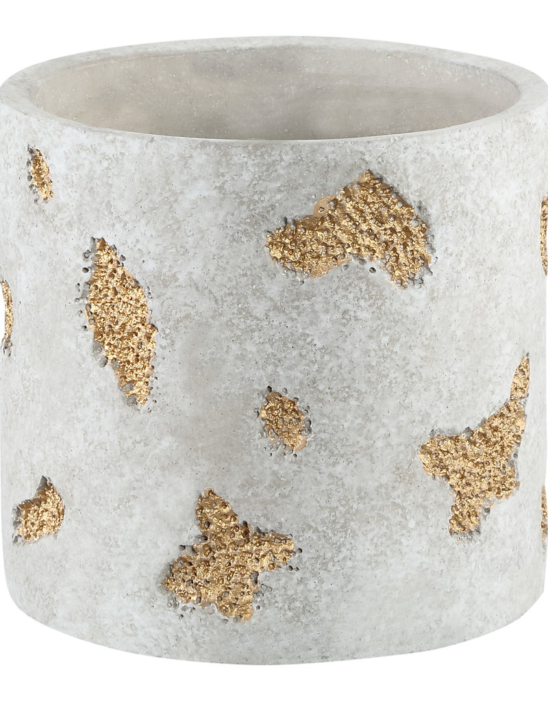 Grote bloempot cement & gold pieces