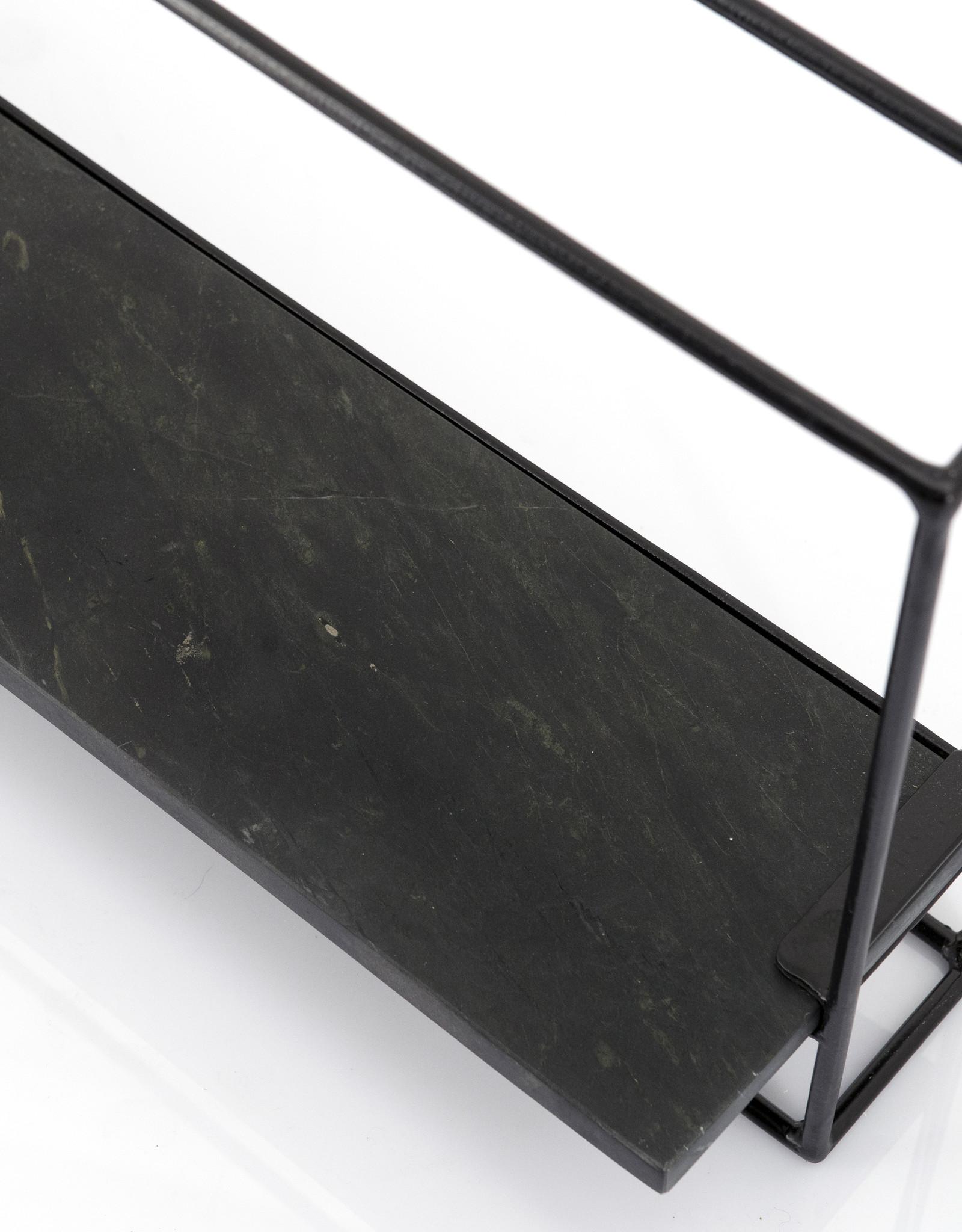 Wandrek zwart marmer L