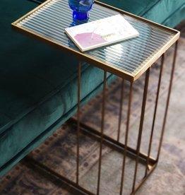 Bijzettafel Sofa Gold rib glas