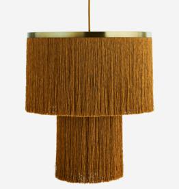 Hanglamp met franjes - mosterd