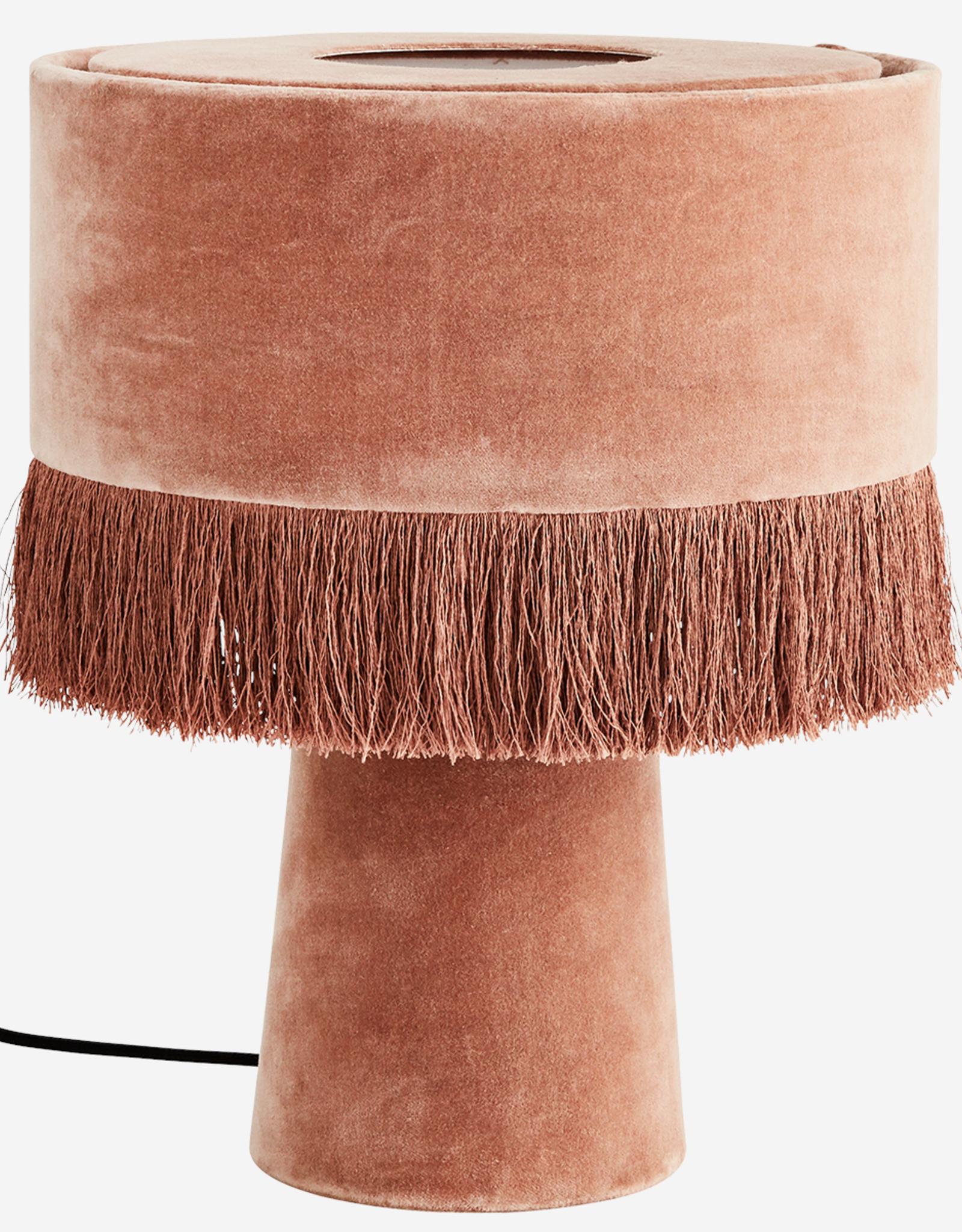Madam Stoltz Tafellamp met franjes - Velvet Pink