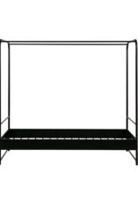 Hemelbed 90 x 200 cm - zwart metaal