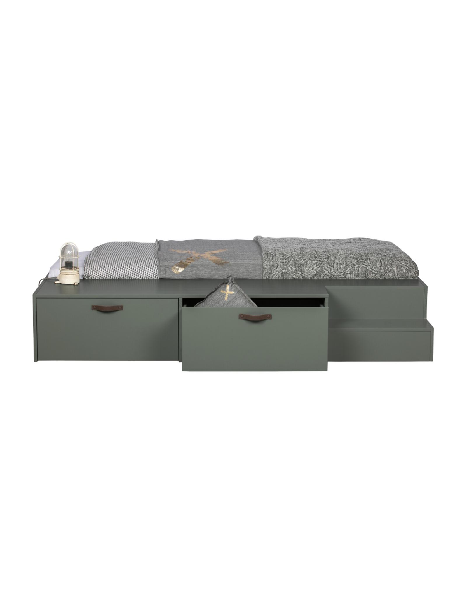 Bed mosgroen incl. lades - 80 x 200 cm