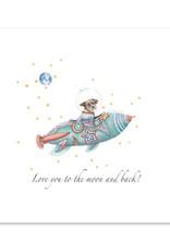 Wishingwell Wenskaart 'Love you to the moon and back' Dog