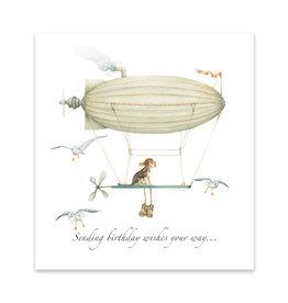 Wishingwell Wenskaart 'Sending birthday wishes your way' zeppelin